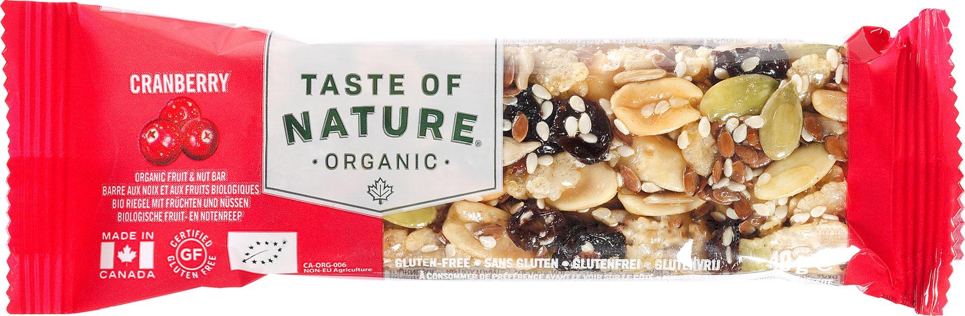 Biologische Taste of Nature Cranberry reep 40 gr