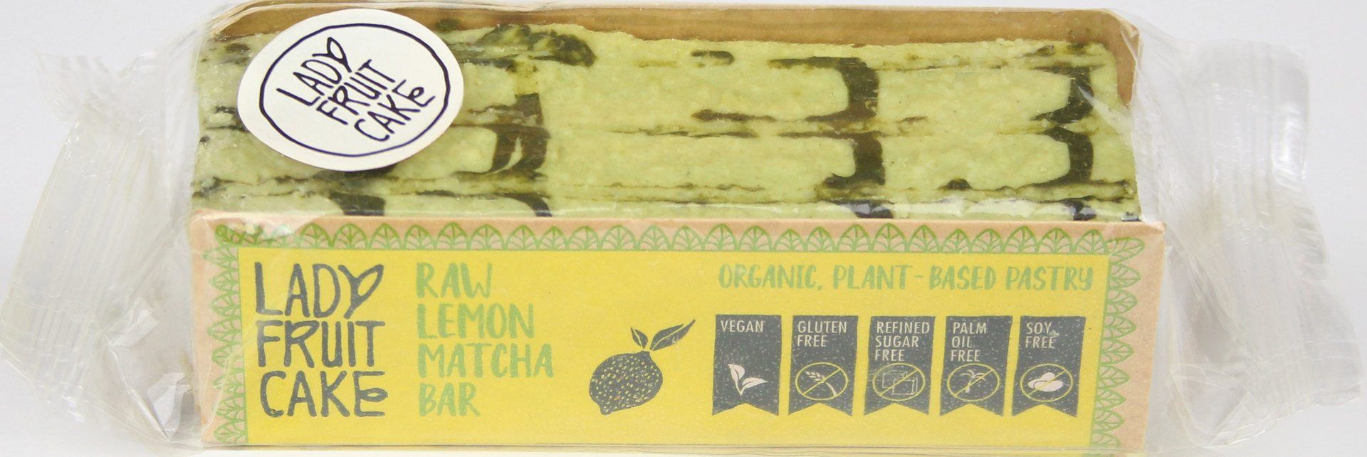 Biologische LadyFruitCake RAW citroen/matcha bar 70 gr