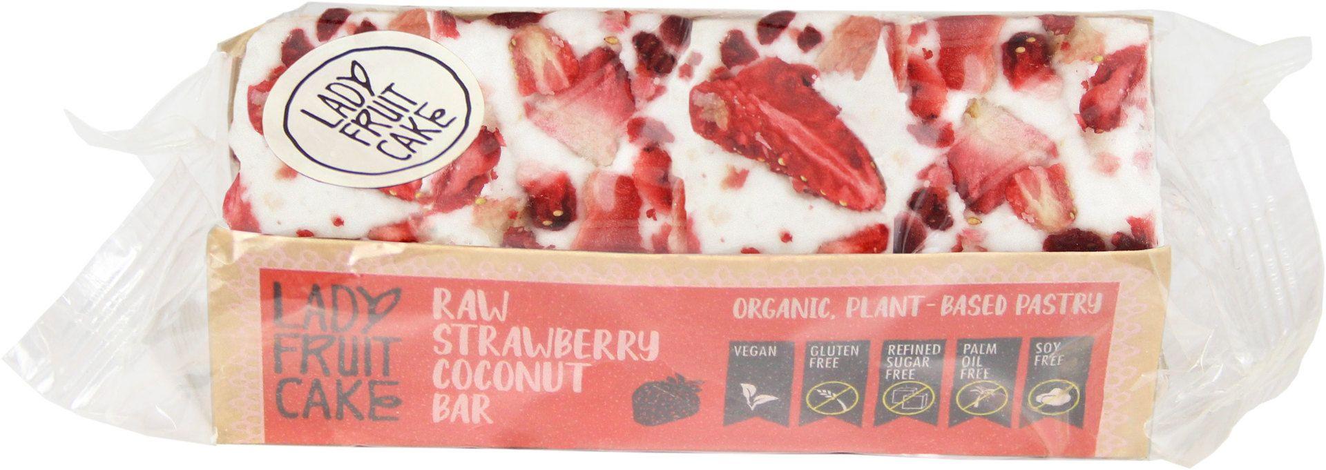 Biologische LadyFruitCake RAW aardbei/kokos bar 70 gr
