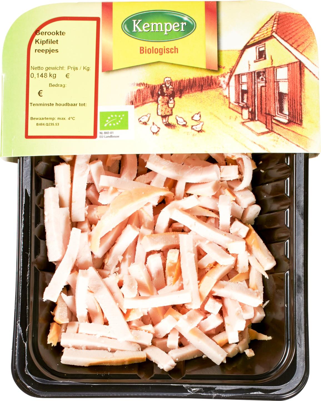 Biologische Kemper Kipfilet gerookt reepjes 125 gr