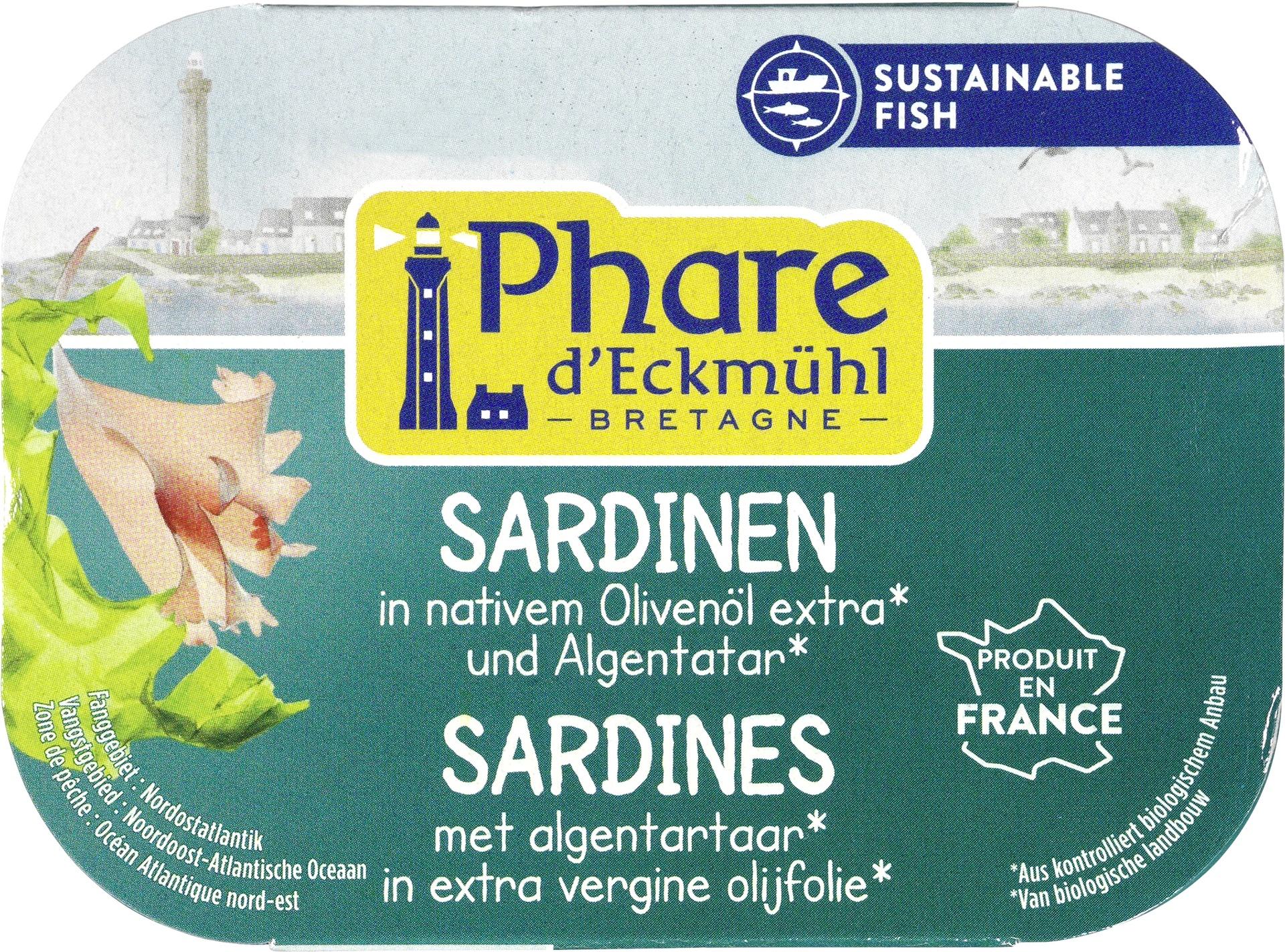 Biologische Phare d'Eckmühl Sardinefilets met algentartaar in olijolie 135 gr