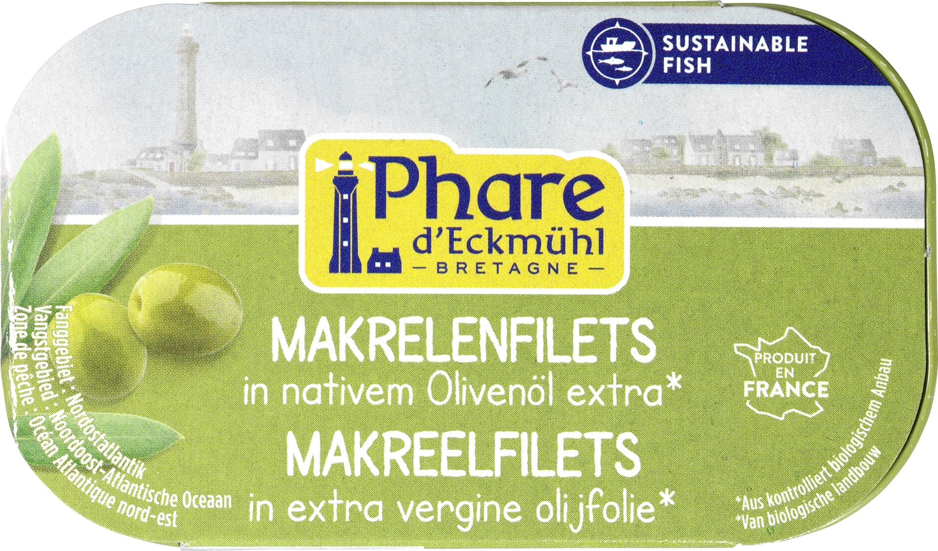 Biologische Phare d'Eckmühl Makreelfilet in olijfolie 118 gr