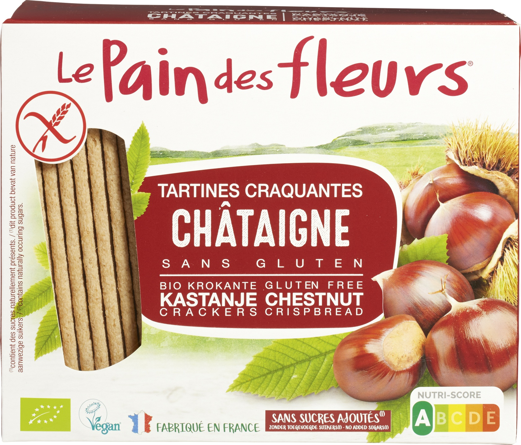 Biologische Le Pain des Fleurs Krokante crackers kastanje 150 g