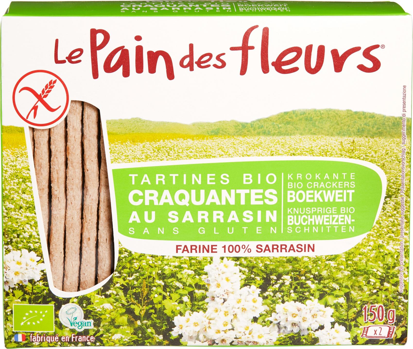 Biologische Le Pain des Fleurs Krokante crackers boekweit 150 gr