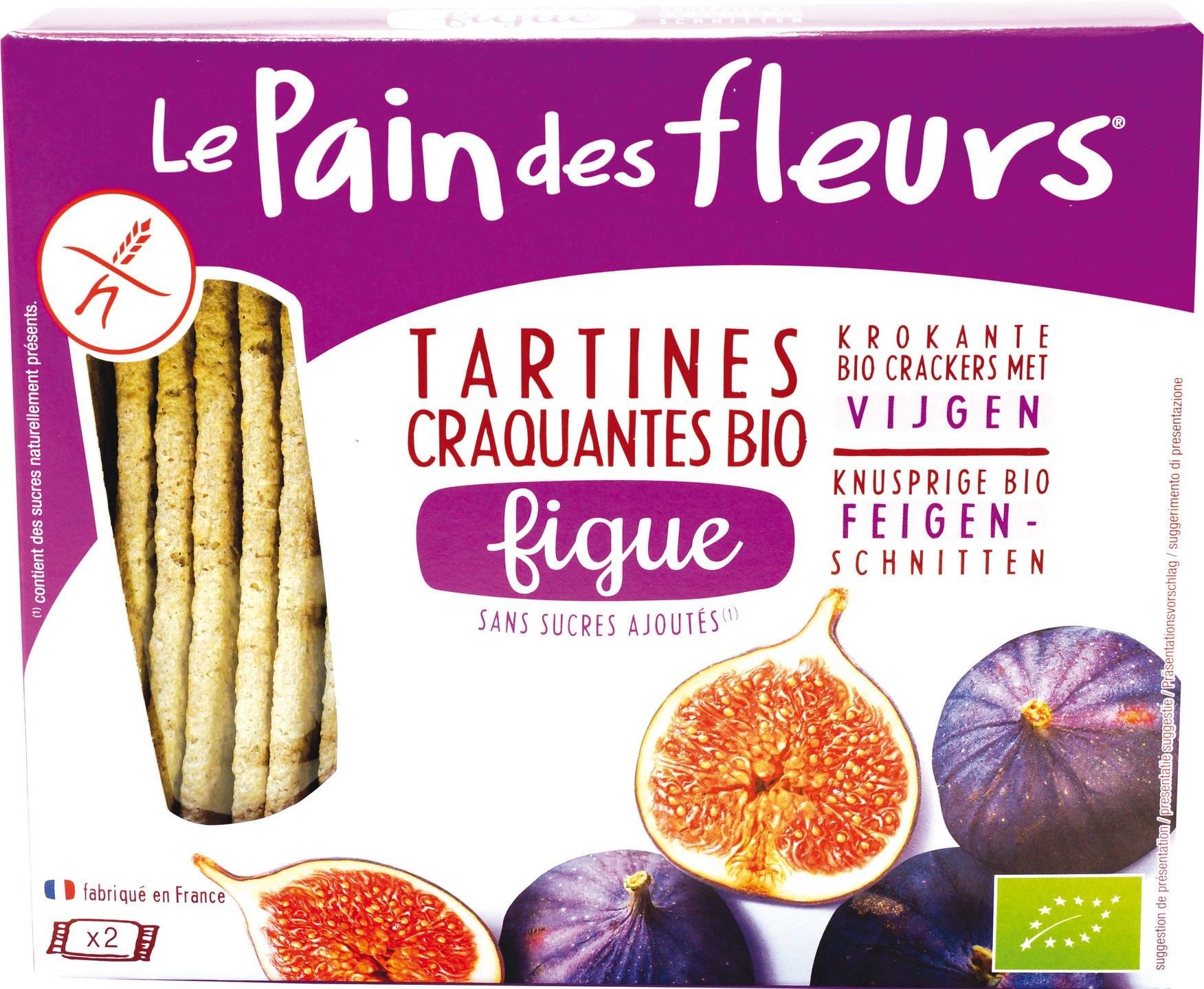 Biologische Le Pain des Fleurs Krokanter crackers vijgen 150 gr