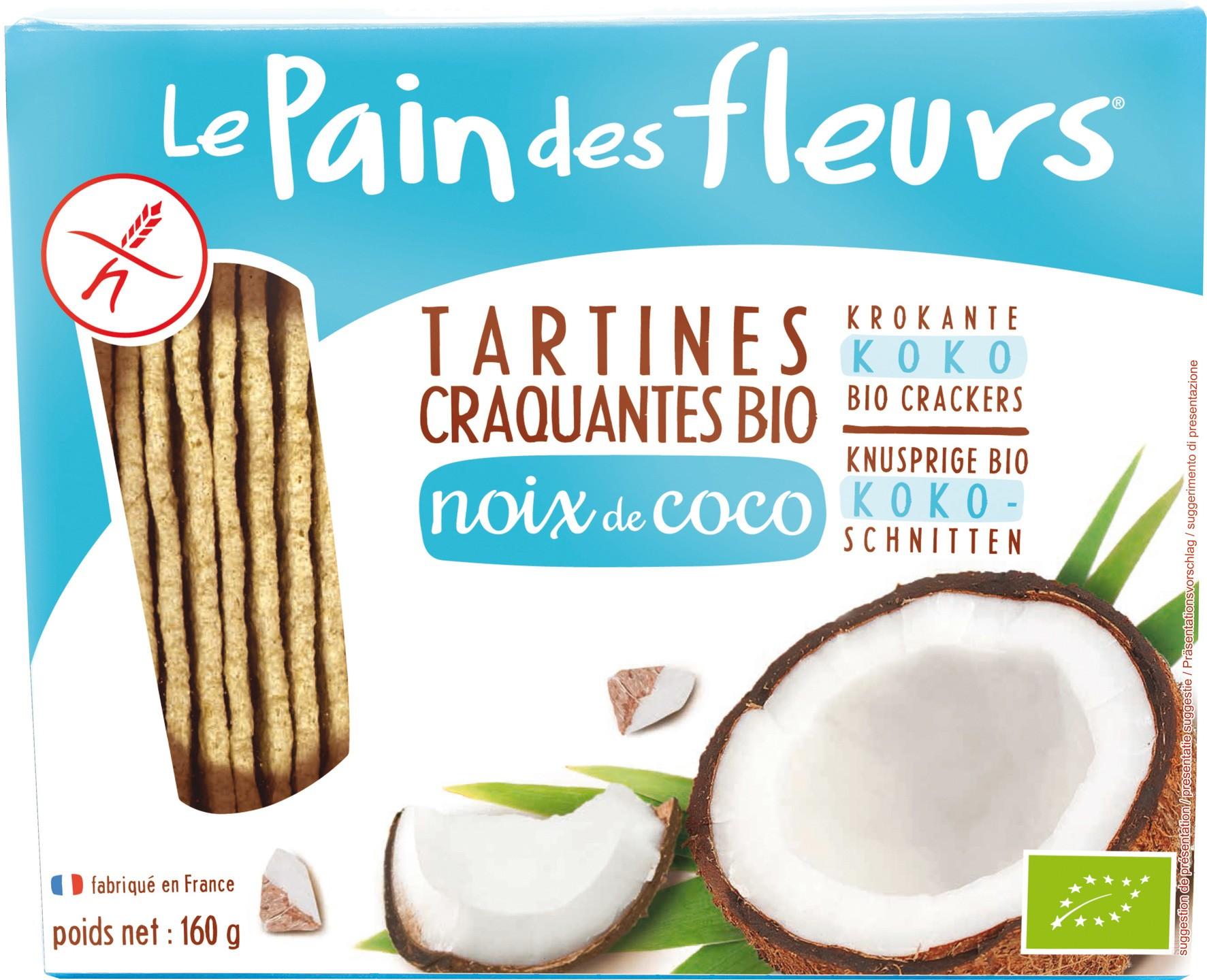 Biologische Le Pain des Fleurs Krokante crackers kokos 150 gr