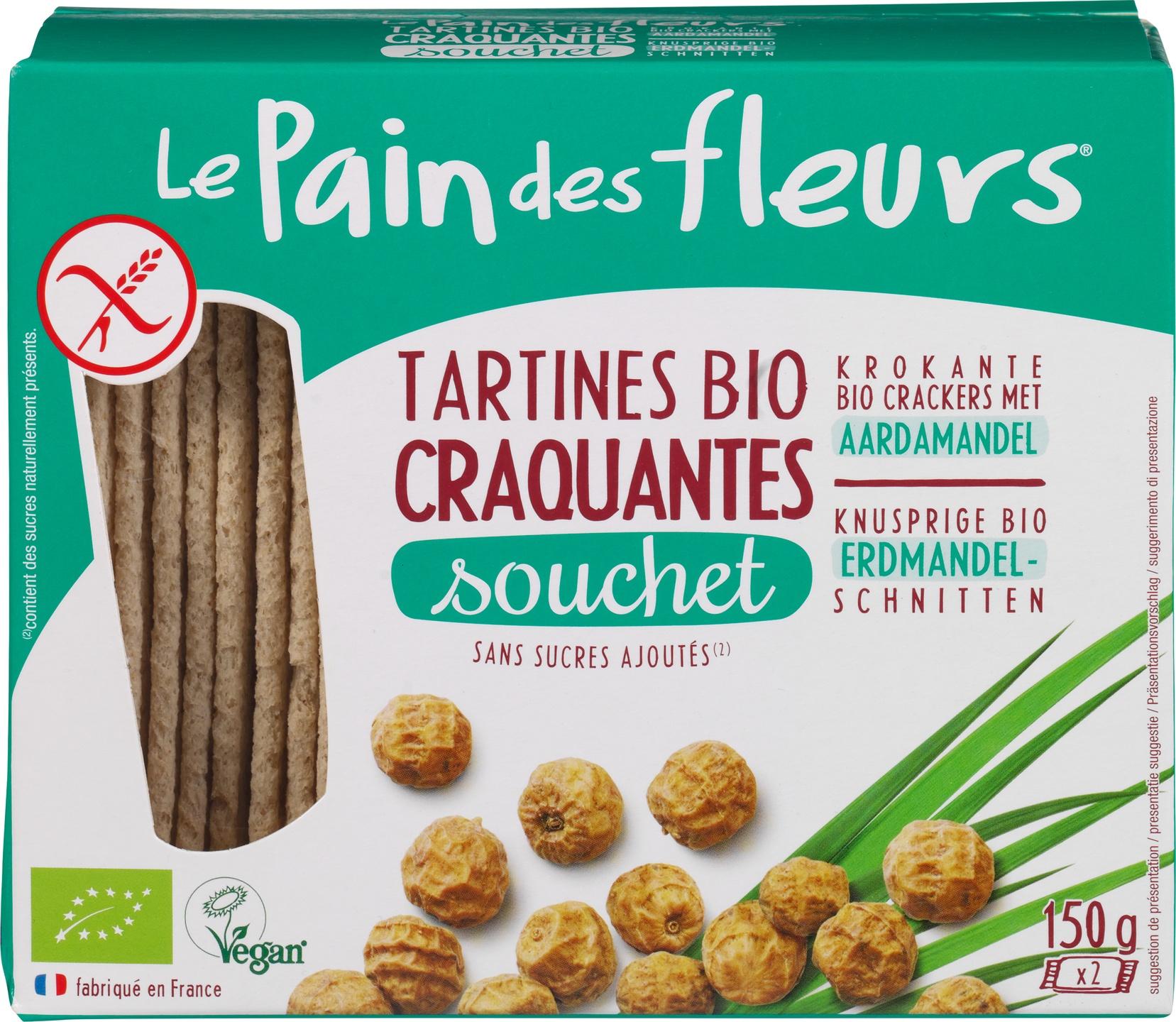 Biologische Le Pain des Fleurs Krokante crackers aardamandel 150 gr