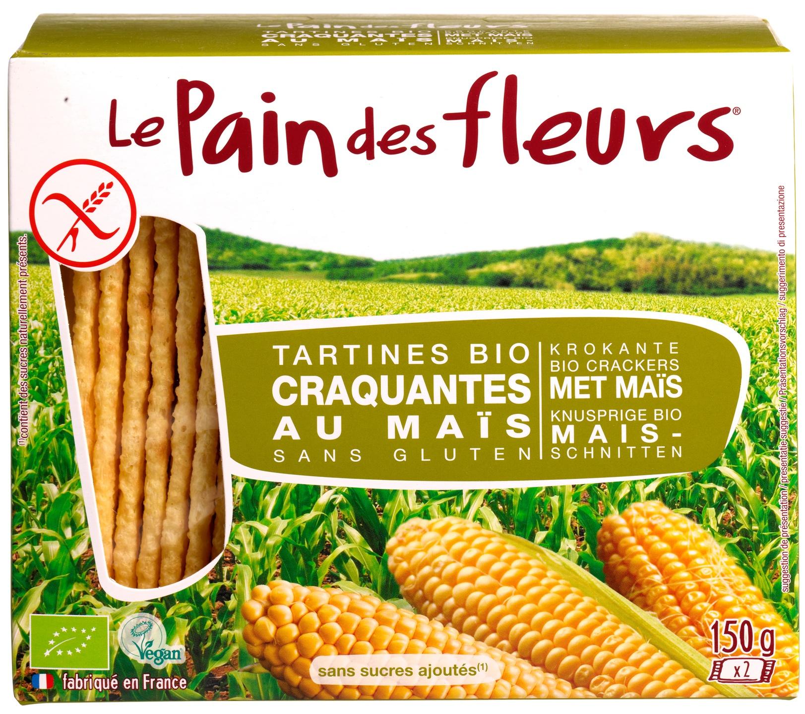 Biologische Le Pain des Fleurs Krokante crackers mais 150 gr