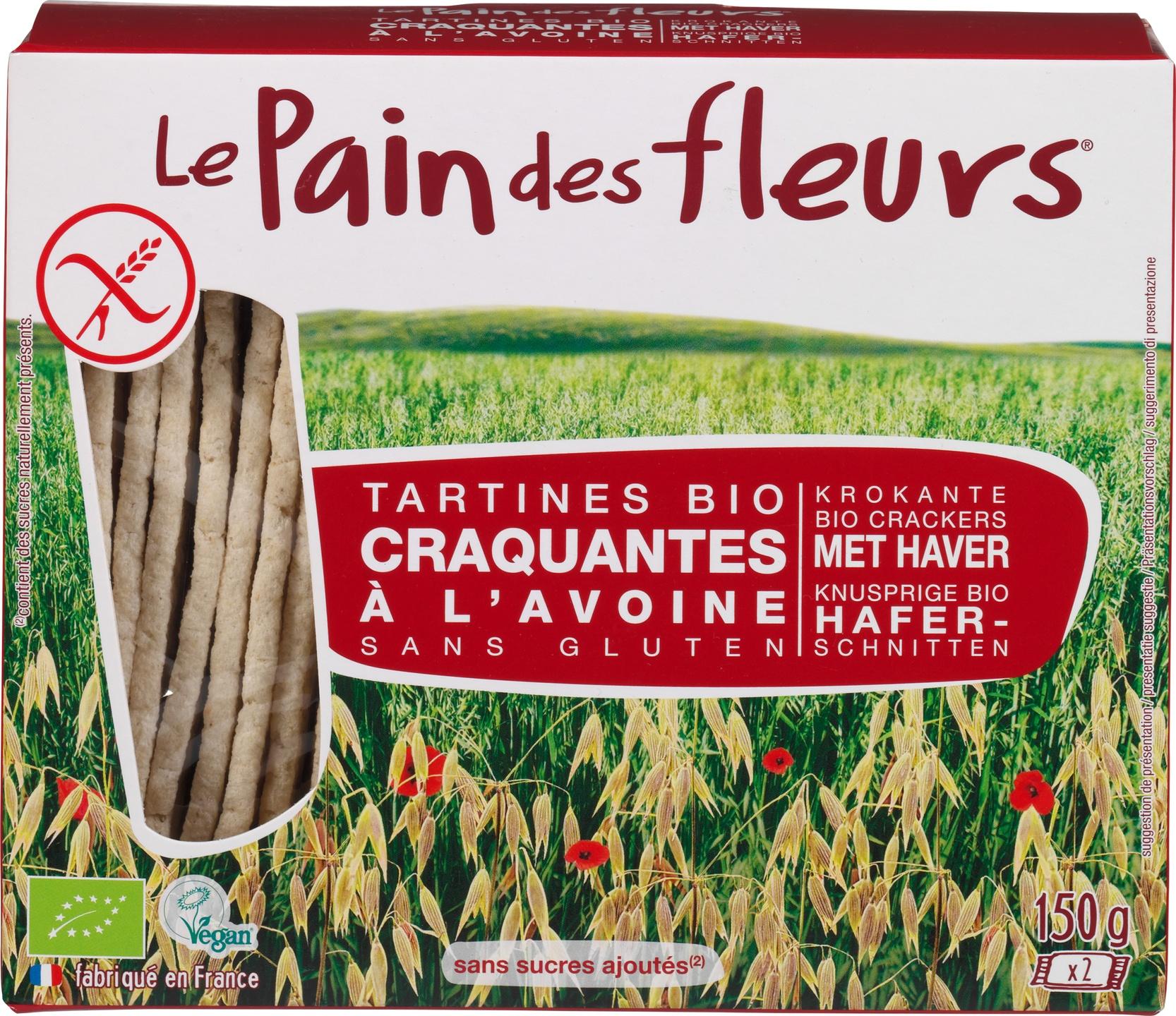 Biologische Le Pain des Fleurs Krokante crackers haver 150 g