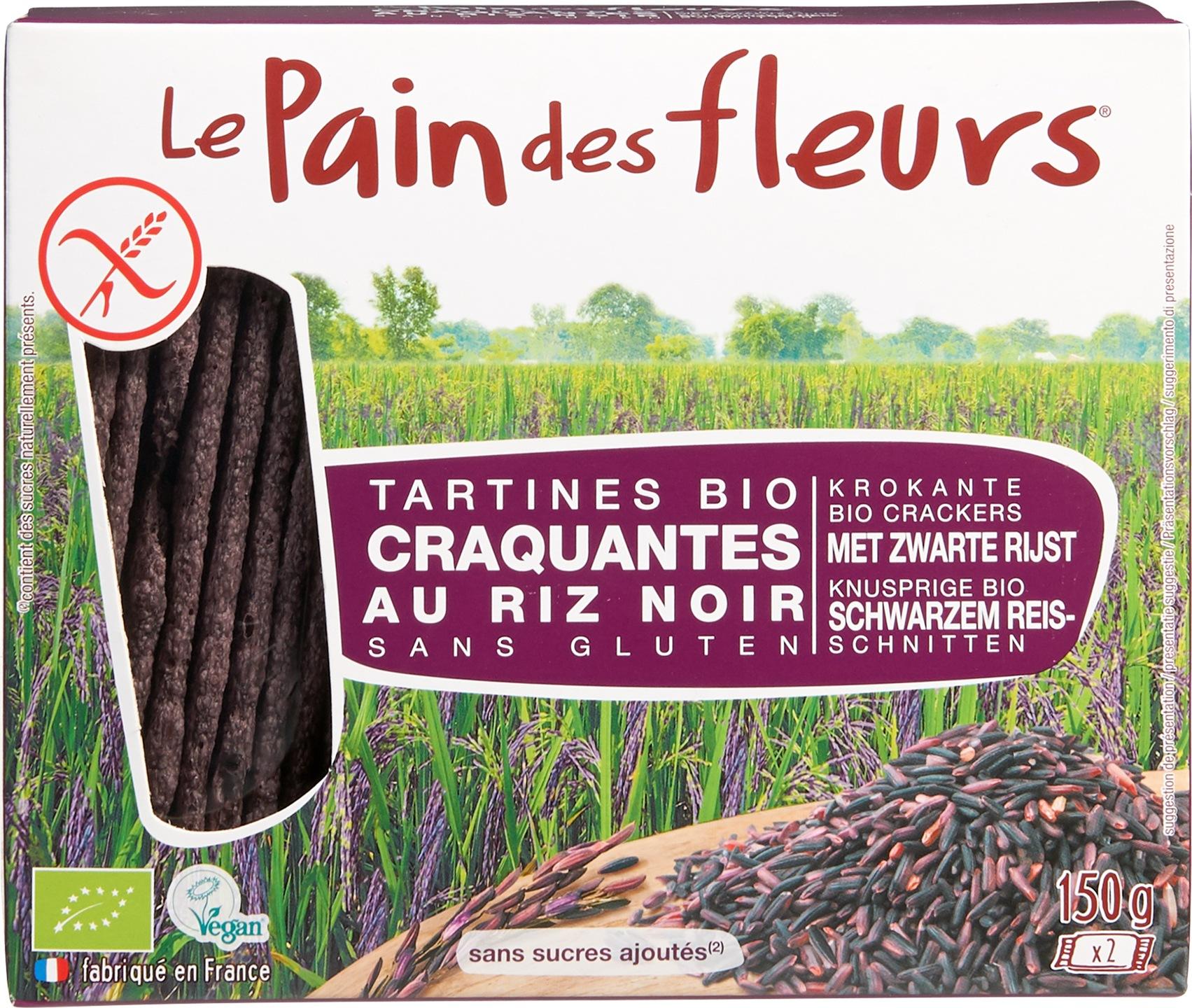 Biologische Le Pain des Fleurs Krokante crackers zwarte rijst 150 gr
