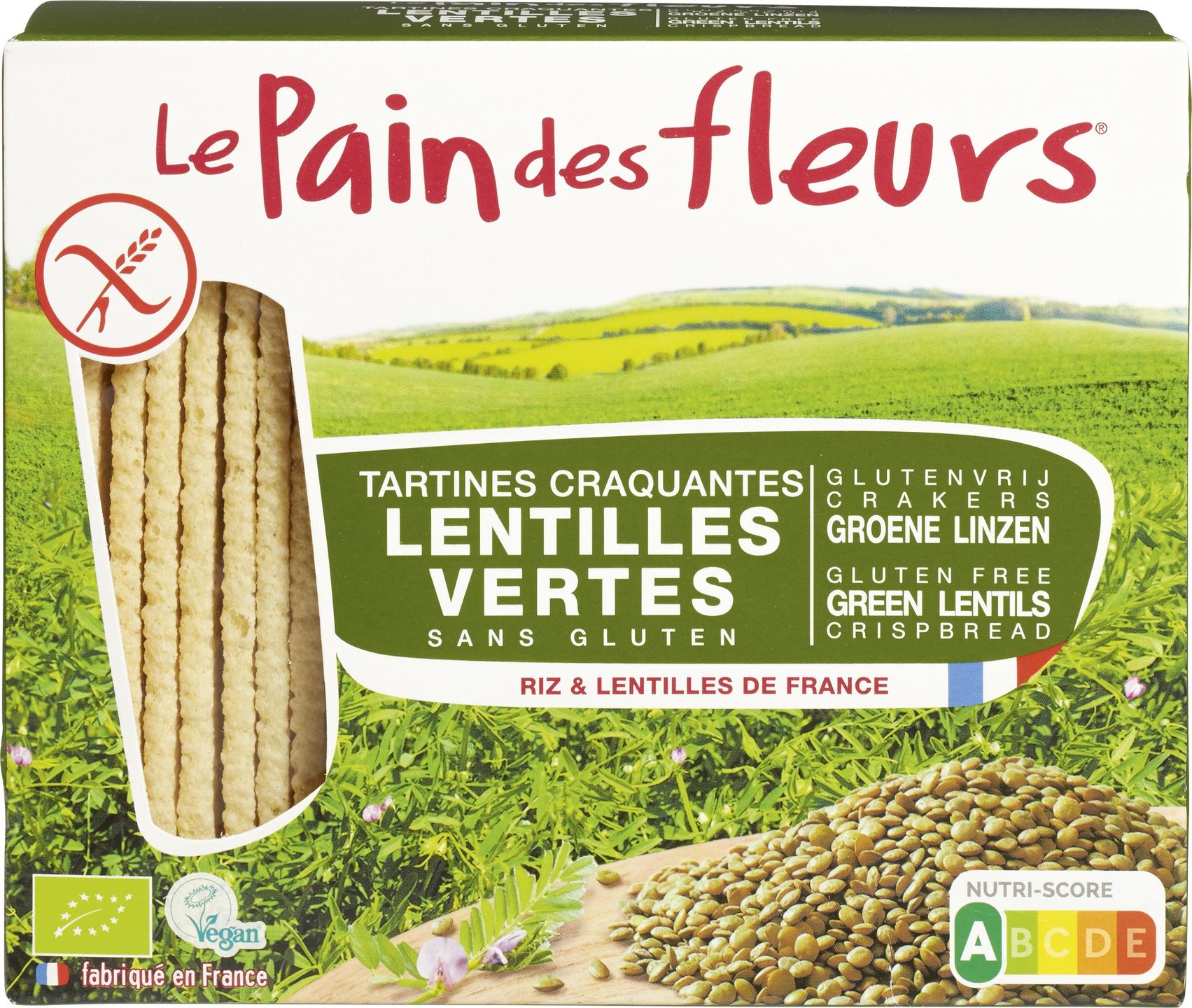Biologische Le Pain des Fleurs Krokante crackers groene linzen 150 gr