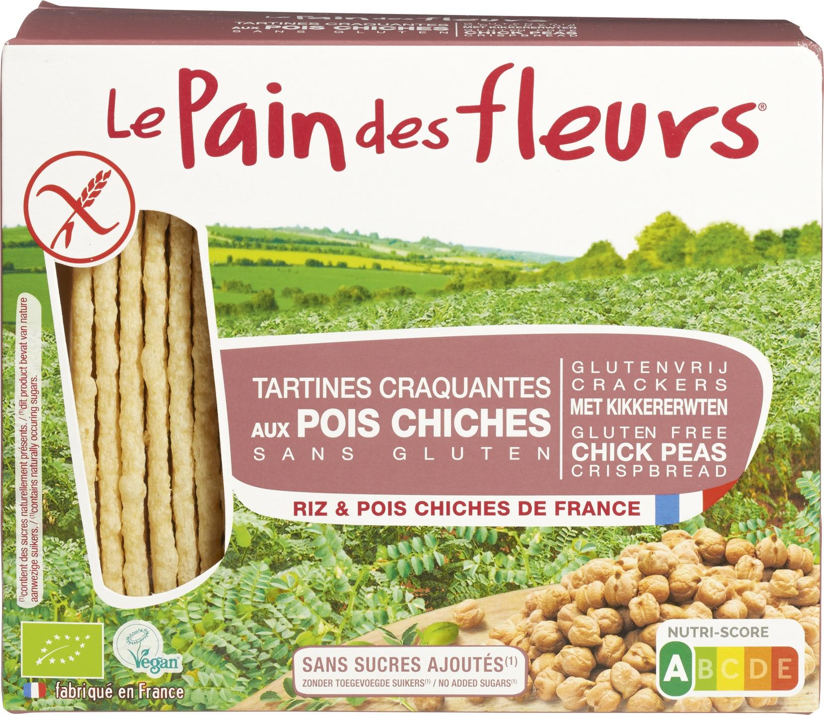 Biologische Le Pain des Fleurs Krokante crackers kikkererwt 150 gr
