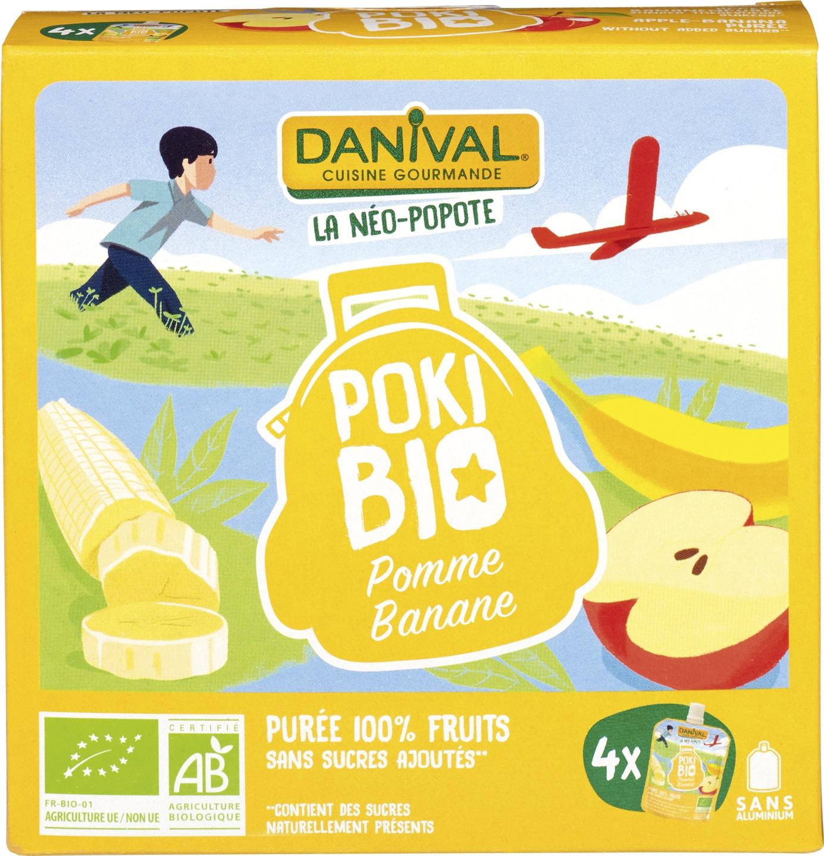 Biologische Danival Knijpfruit Poki Bio appel banaan 4 st