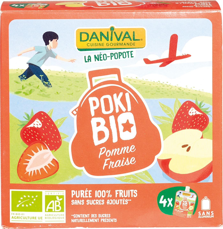 Biologische Danival Knijpfruit Poki Bio appel aardbei 4 st