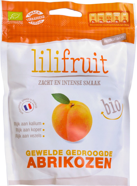 Biologische Lilifruit Gewelde abrikozen 150 gr
