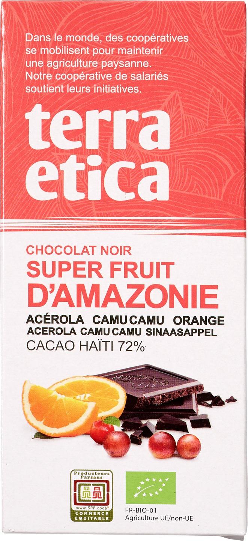 Biologische Terra Etica Pure chocolade - camu-camu/acerola/sinaasappel 100 gr