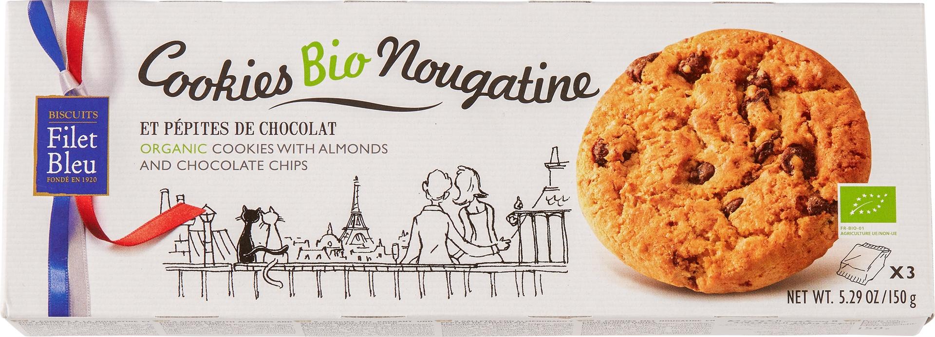 Biologische Filet Bleu Nogatine-chocolade koekjes 150 gr