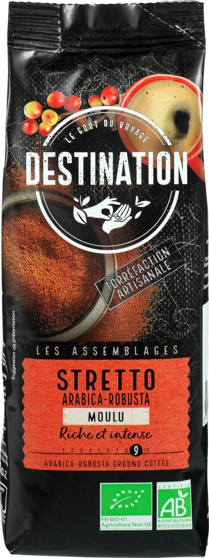 Biologische Destination Gemalen koffie intense Stretto 250 gr