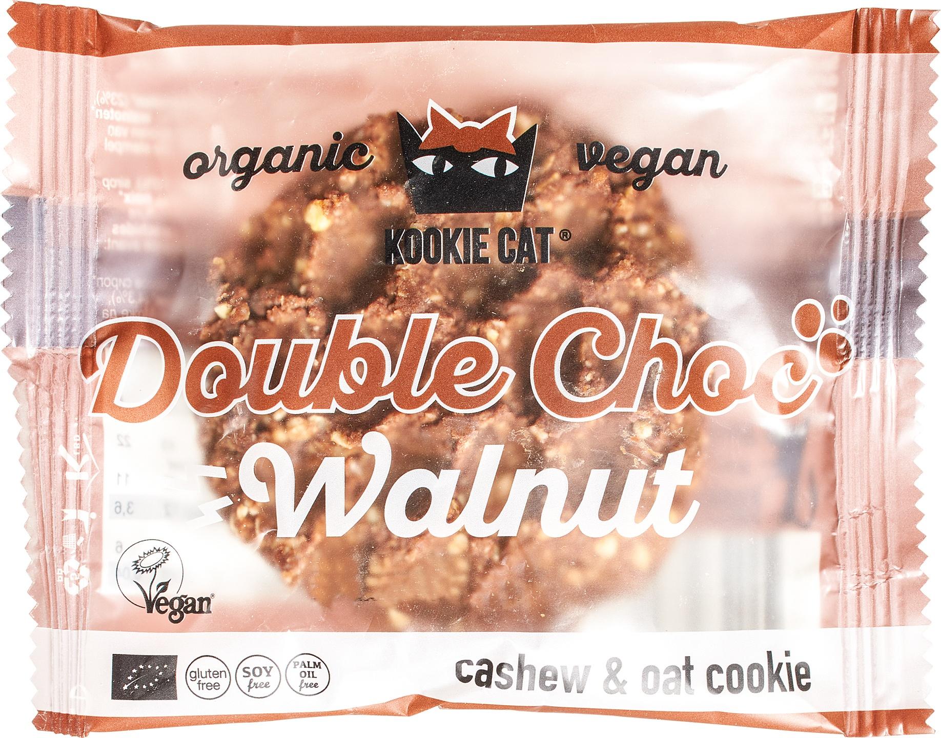 Biologische Kookie Cat Koek cocoa nibs - walnoot 50 gr