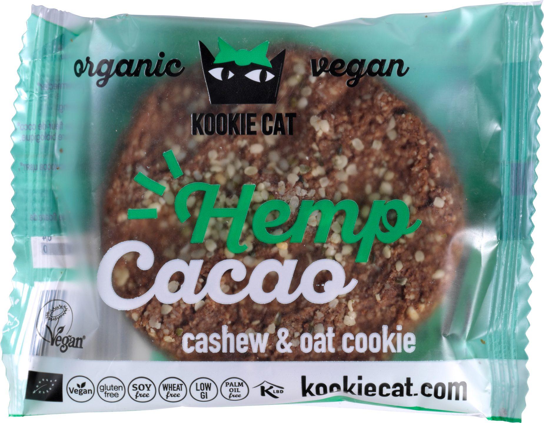 Biologische Kookie Cat Koek hemp - cacao 50 gr