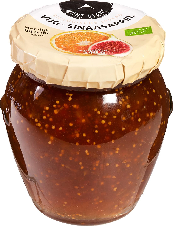 Biologische Mont Blanc Vruchtenspread vijg-sinaasappel 240 gr