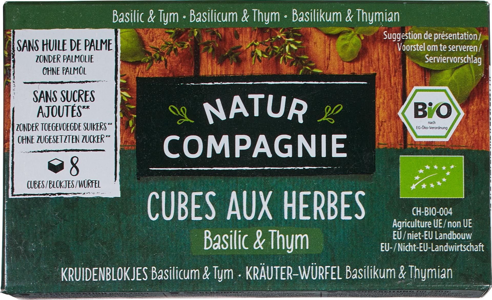 Biologische Natur Compagnie Kruidenbouillonblokjes basilicum/tijm 8 st