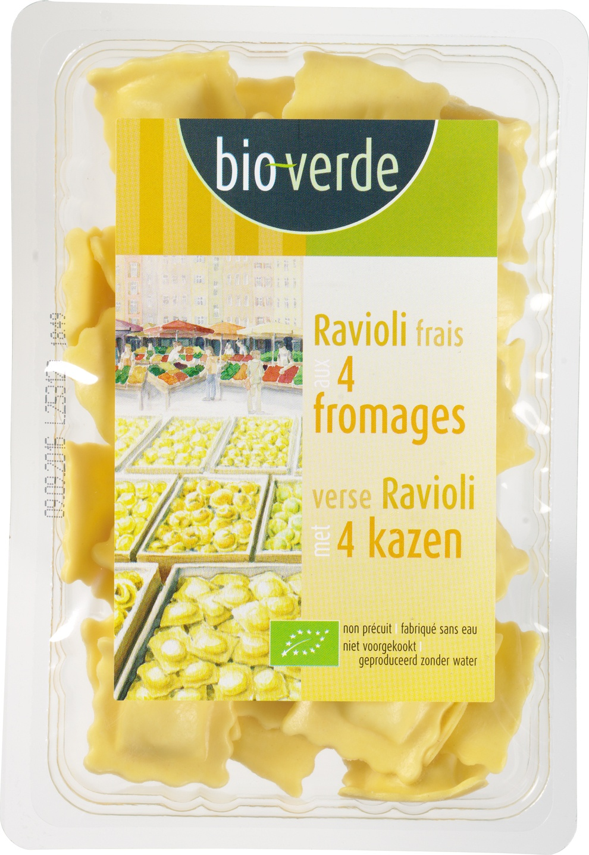 Biologische Bioverde Verse ravioli 4 fromages 250 gr