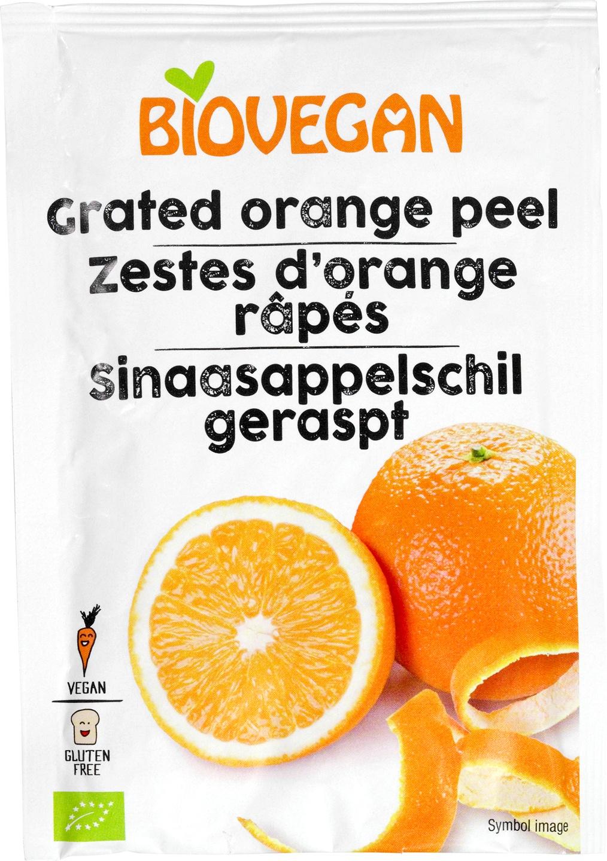 Biologische Biovegan Sinaasappelschillen geraspt GV 9 gr