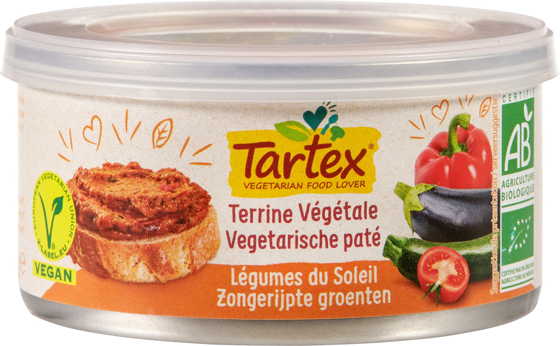 Biologische Tartex Vega paté zongerijpte groenten 125 gr