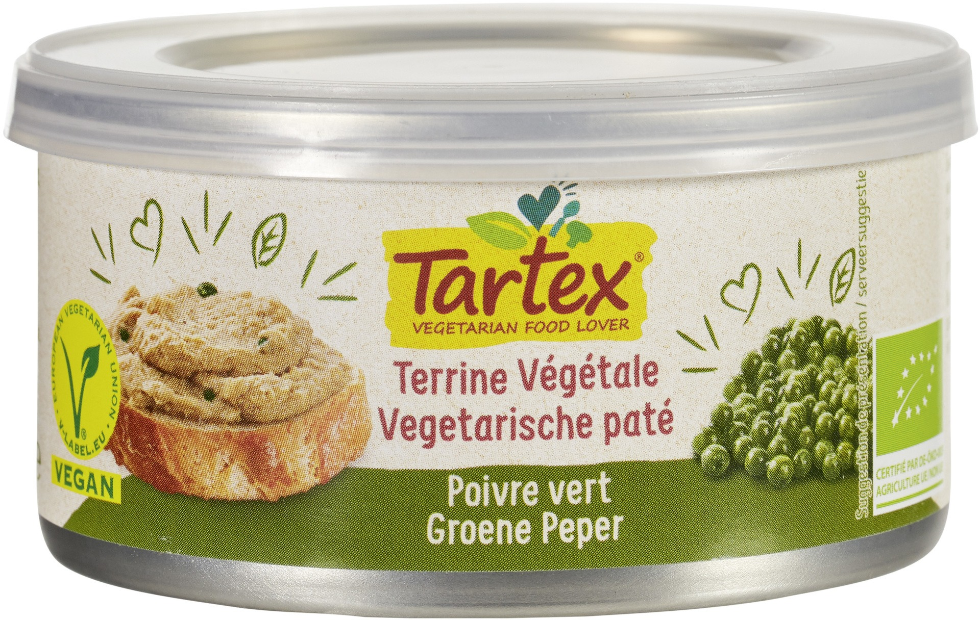 Biologische Tartex Vega paté groene peper 125 gr