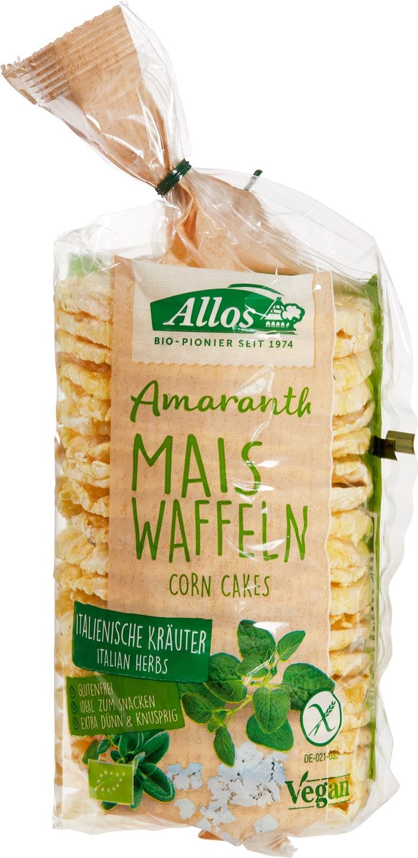 Biologische Allos Amaranth maiswafels Italiaanse kruiden 100 gr
