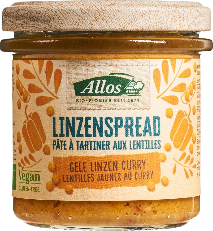 Biologische Allos Linzenspread curry 140 gr
