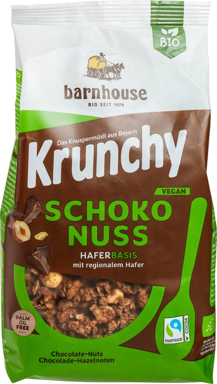 Biologische Barnhouse Krunchy pure chocolade-hazelnoten 375 gr