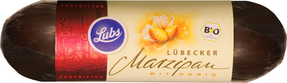 Biologische Lubs Marsepein in pure chocolade 50 gr