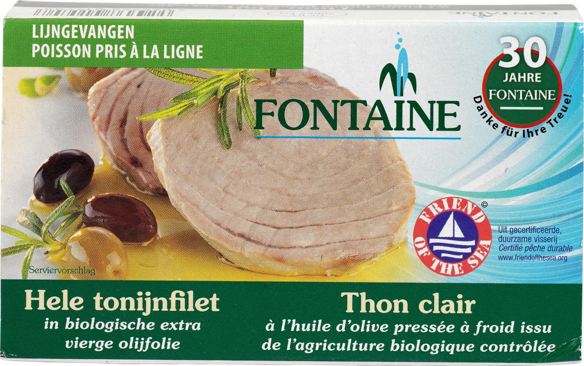 Biologische Fontaine Tonijnfilet in olijfolie 120 gr