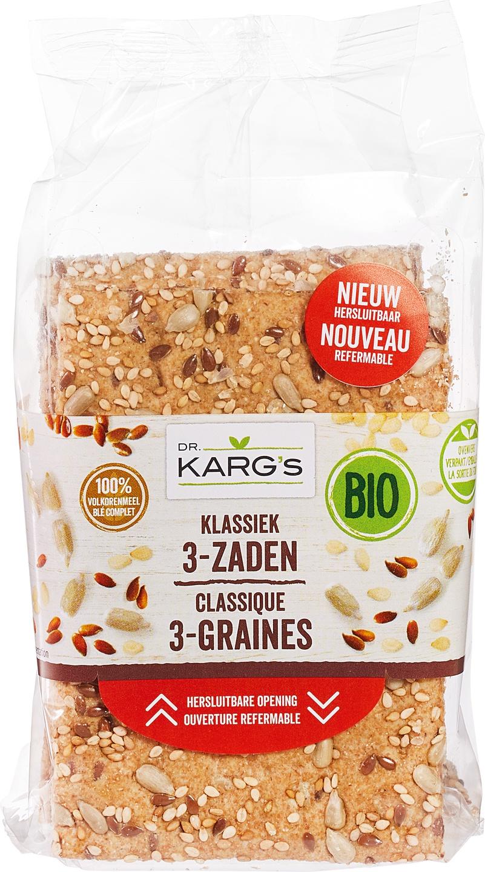 Biologische Dr. Karg's Crackers classic 3-zaden 200 gr