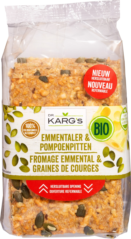 Biologische Dr. Karg's Kaascracker met pompoenpit 200 gr