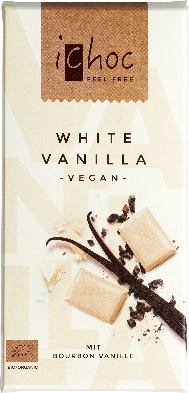 Biologische iChoc Rijstmelk witte chocolade vegan - vanille 80 gr