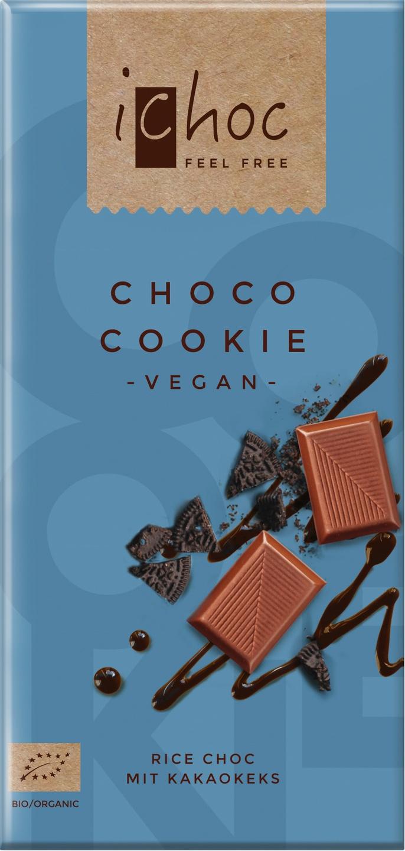 Biologische iChoc Rijstmelk chocolade vegan - choco/cookie 80 gr