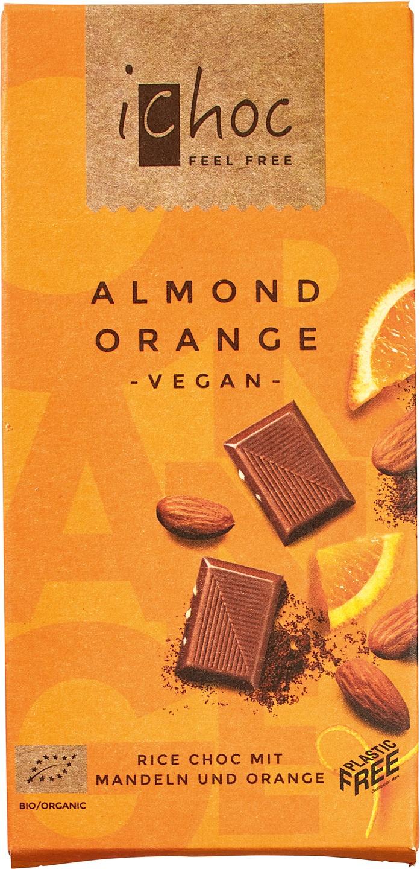 Biologische iChoc Chocolade vegan - amandel/sinaasappel 80 gr