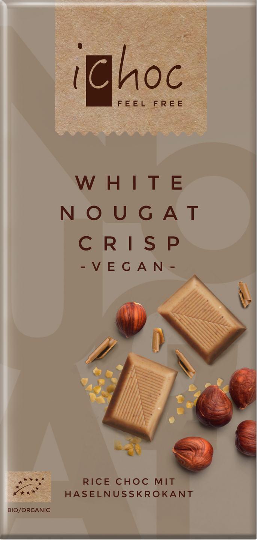 Biologische iChoc Rijstmelk witte chocolade vegan - nougat/crisp 80 gr