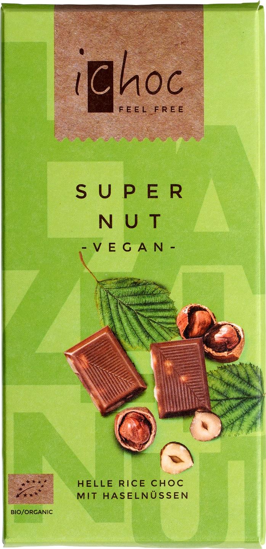 Biologische iChoc Rijstmelk chocolade vegan - hazelnoot 80 gr