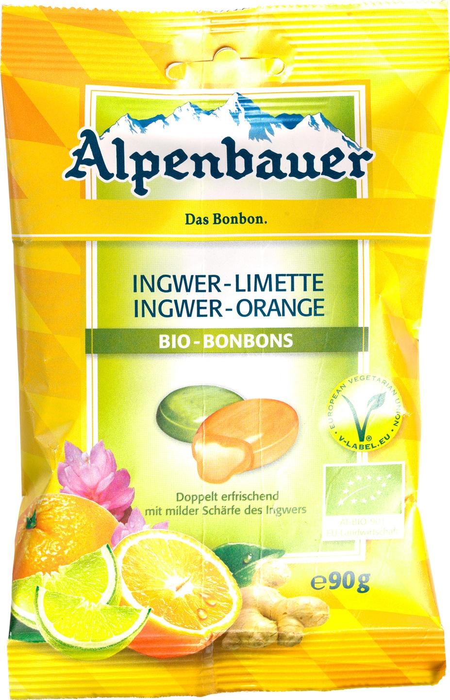 Biologische Alpenbauer Gember-sinaasappel/limoen bonbons 90 gr