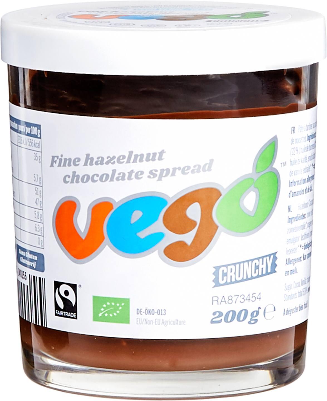 Biologische Vego Chocoladespread crunchy hazelnoot 200 gr