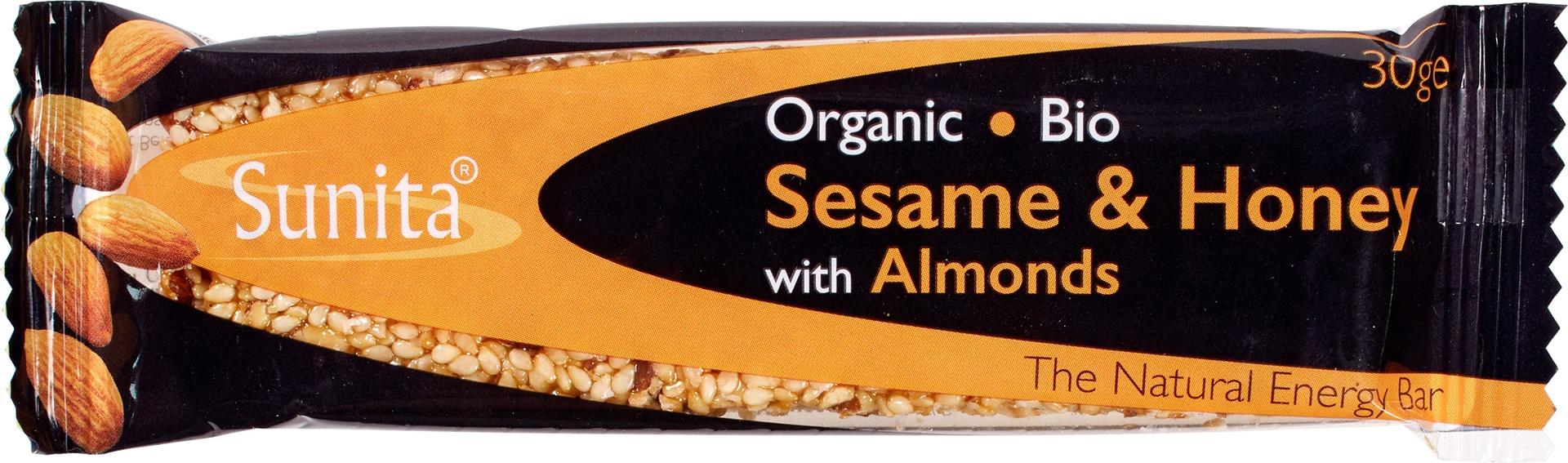 Biologische Sunita Sesambar honing amandel 30 gr