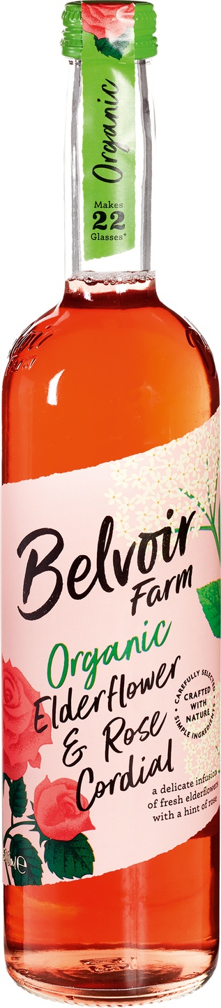 Biologische Belvoir Fruit Farms Elderflower & rose cordial siroop 500 ml
