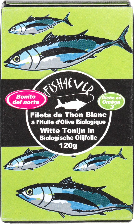 Biologische Fish 4 Ever Witte tonijn in olijfolie 120 gr