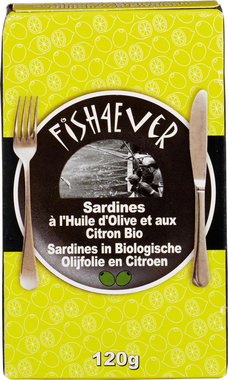 Biologische Fish 4 Ever Sardines in olijfolie citroen 120 gr