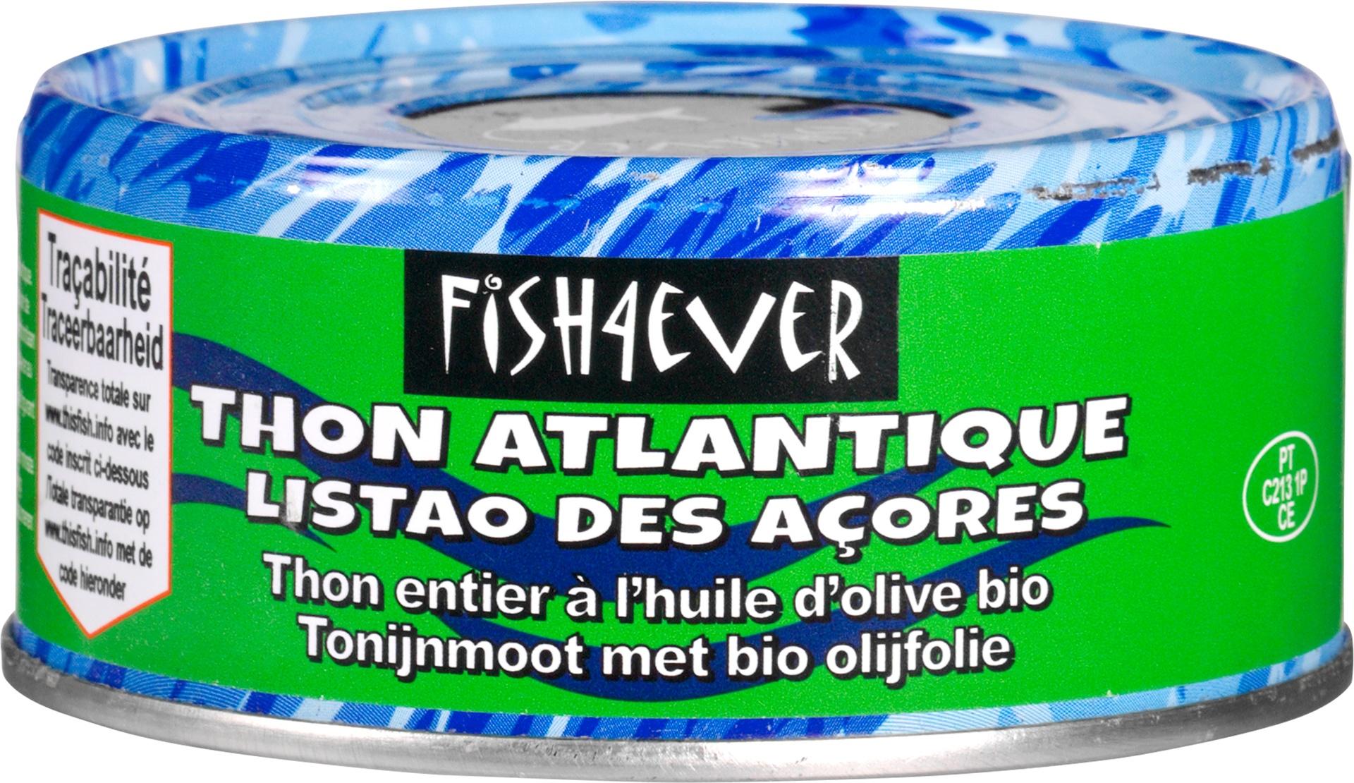 Biologische Fish 4 Ever Tonijnmoot met olijfolie 160 gr