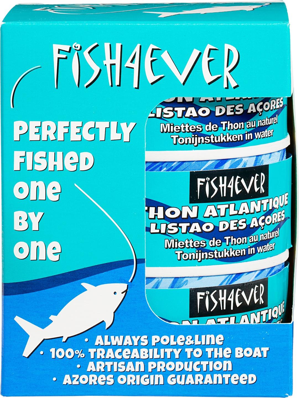 Biologische Fish 4 Ever 3-pack tonijnmoot in water 3 st